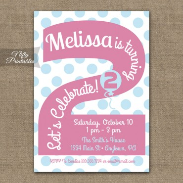 2nd Birthday Girls Pink Birthday Invitations