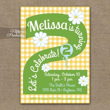 2nd Birthday Girls Yellow Daisy Invitations