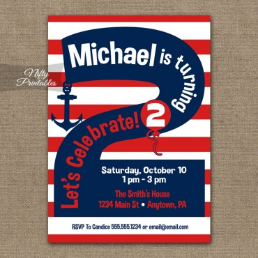2nd Birthday Nautical Red White Blue Invitations