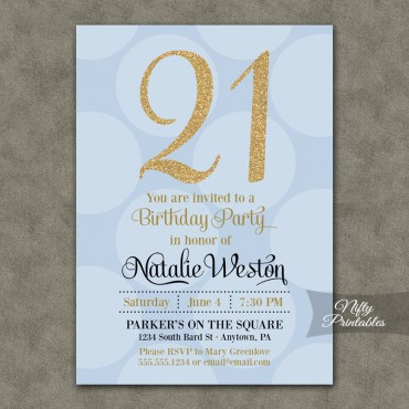 Blue Gold Dots Birthday Invitations