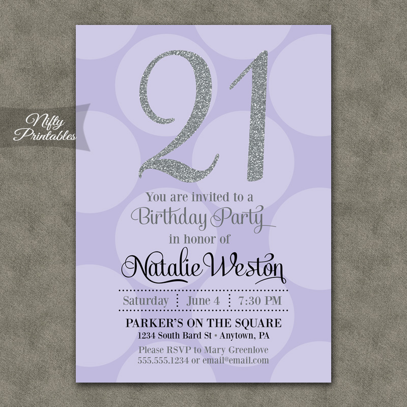 Lavender Silver Dots Birthday Invitations