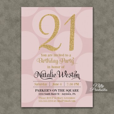 Pink Gold Dots Birthday Invitations