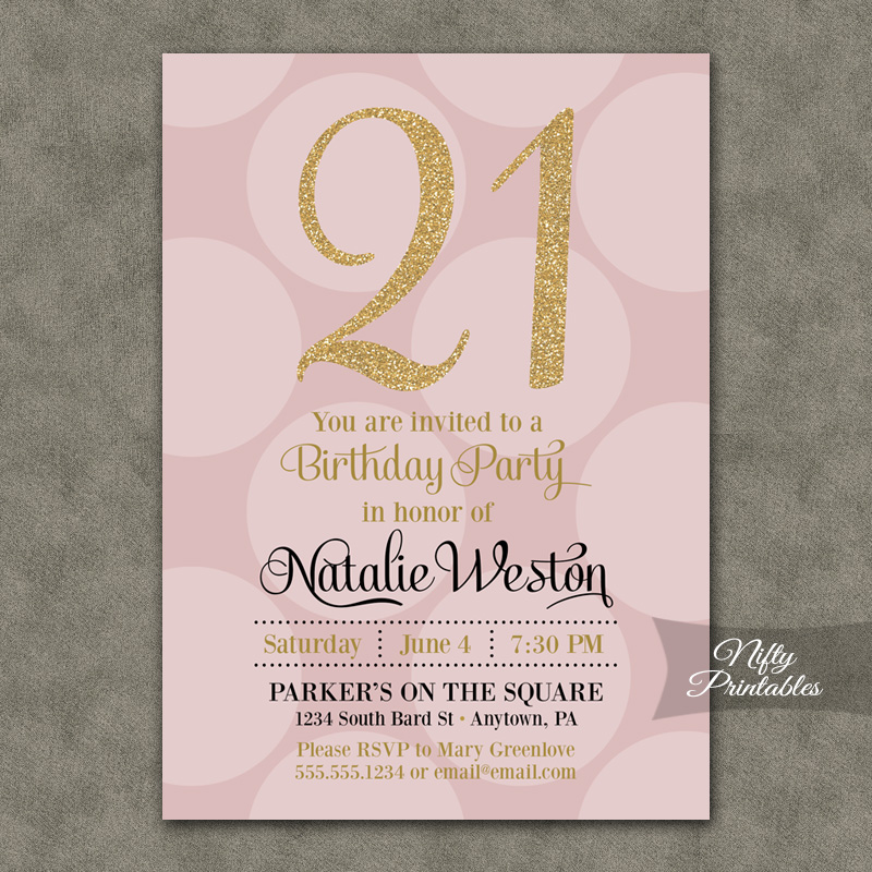 Pink Gold Dots Birthday Invitations Nifty Printables