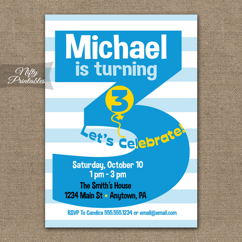 3rd Birthday Blue Birthday Invitations