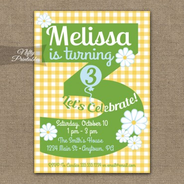 3rd Birthday Girls Yellow Daisy Invitations