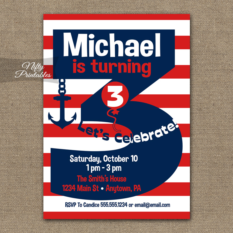 3rd Birthday Nautical Red White Blue Invitations