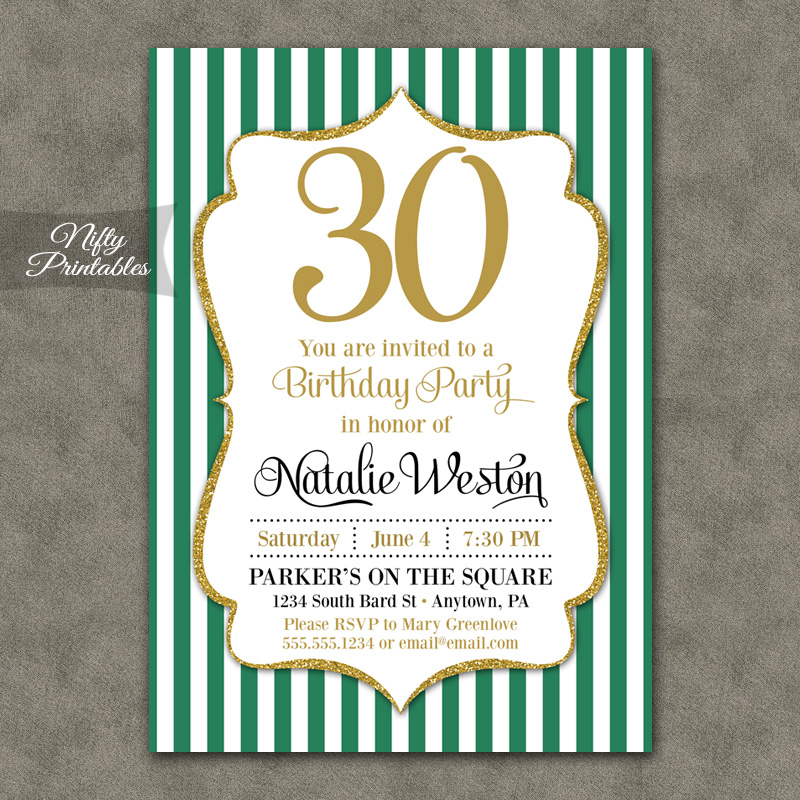 Green Gold Stripe Birthday Invitations