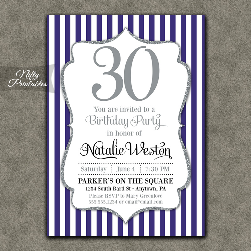 Purple Silver Stripe Birthday Invitations
