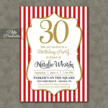 Red Gold Stripe Birthday Invitations