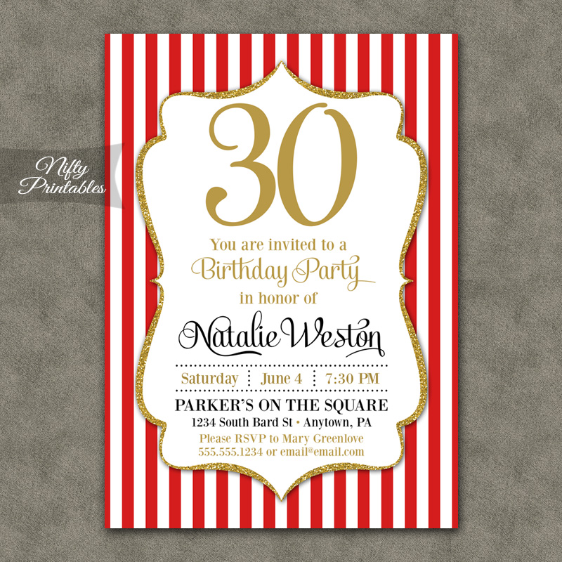 Red Gold Stripe Birthday Invitations