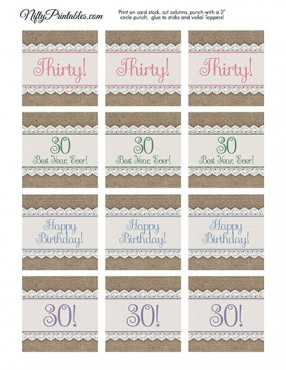 30th Birthday Cupcake Toppers - Burlap Lace