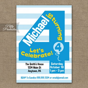 4th Birthday Blue Birthday Invitations