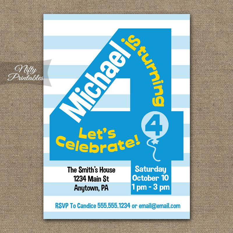 4th Birthday Blue Birthday Invitations