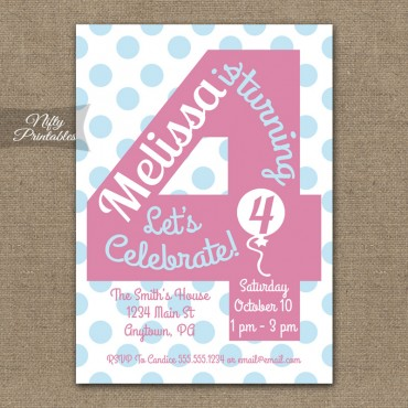 4th Birthday Girls Pink Birthday Invitations