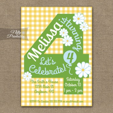 4th Birthday Girls Yellow Daisy Invitations