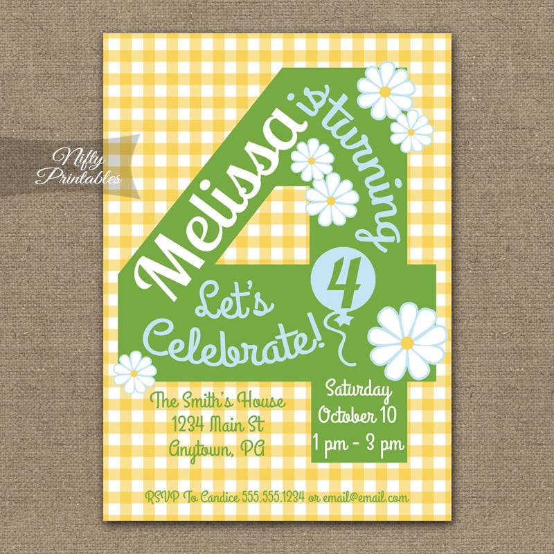 4th Birthday Girls Yellow Daisy Invitations