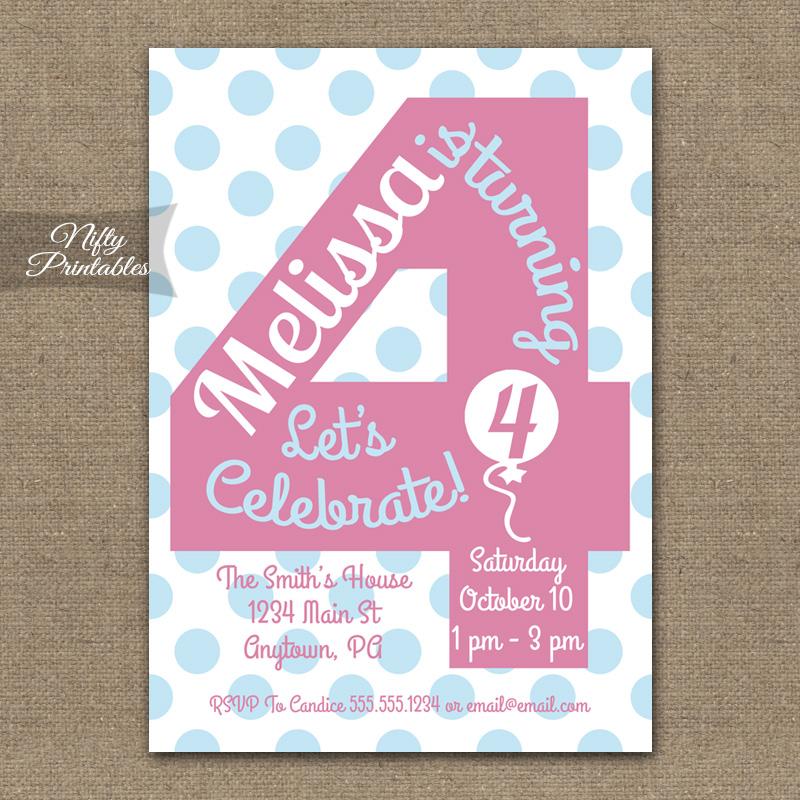 4th Birthday Girls Pink Birthday Invitations