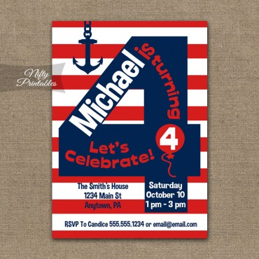 4th Birthday Nautical Red White Blue Invitations