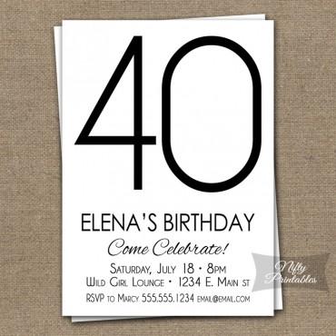 Modern Black White Birthday Invitations