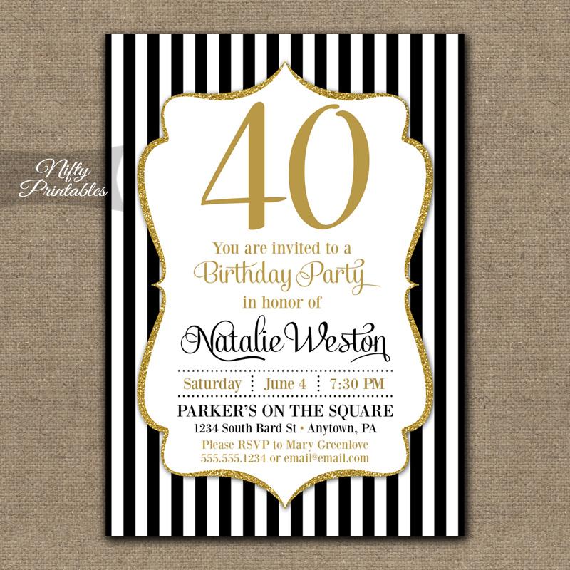 Black Gold Stripe Birthday Invitations 40