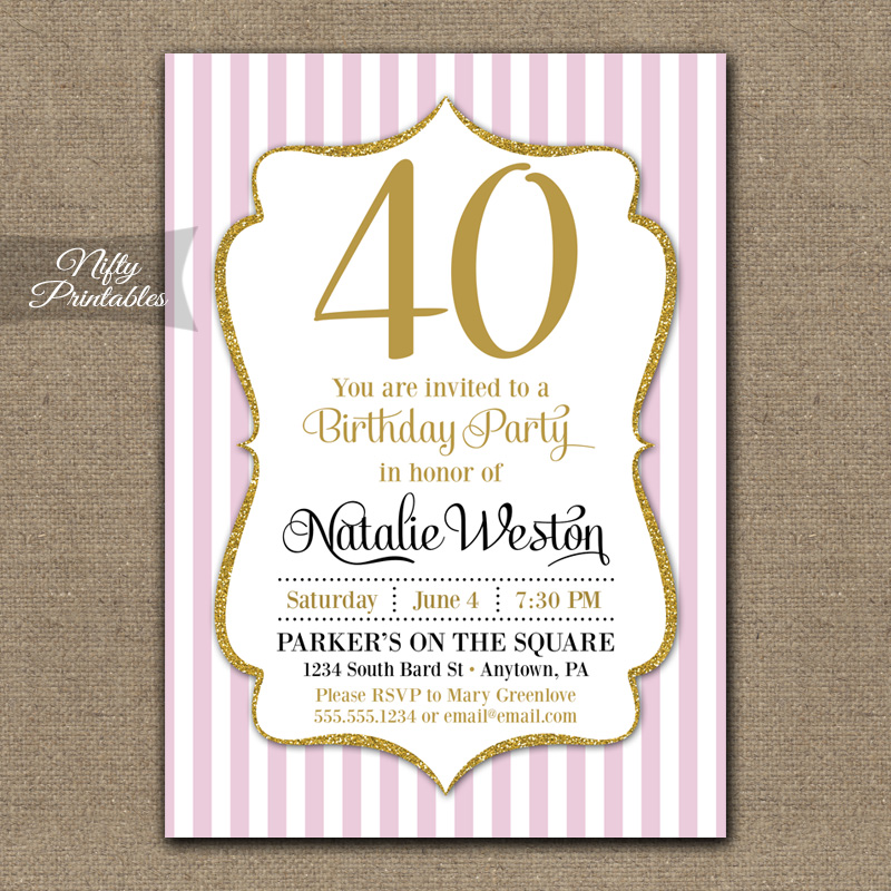 Pink Gold Stripe Birthday Invitations