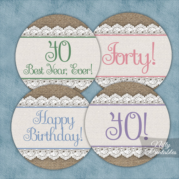 40th Birthday Cupcake Toppers - Burlap Lace