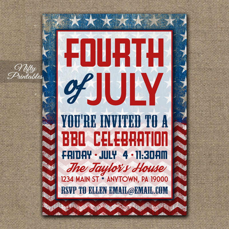 4th of july party invitations bbq nifty printables