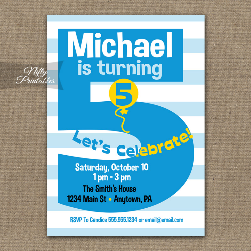 5th Birthday Blue Birthday Invitations