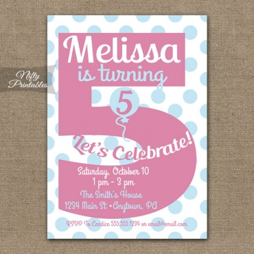 5th Birthday Girls Pink Birthday Invitations