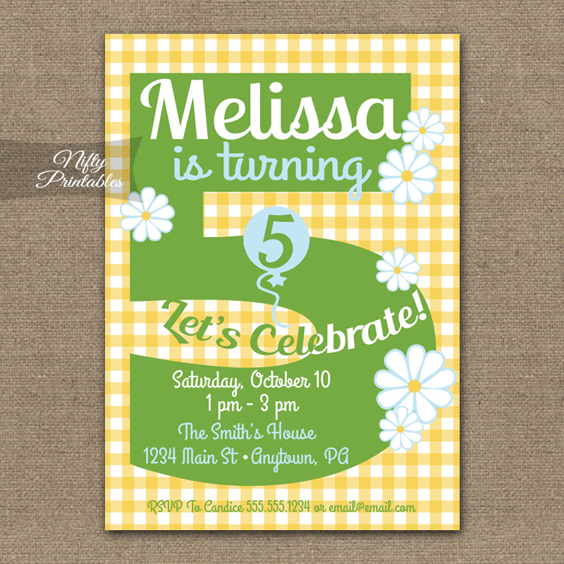 5th Birthday Girls Yellow Daisy Invitations