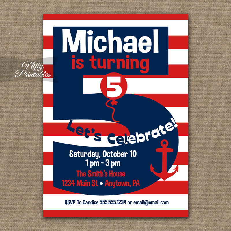 5th Birthday Nautical Red White Blue Invitations