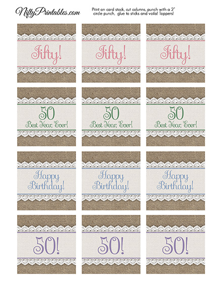 50th Birthday Cupcake Toppers - Burlap Lace