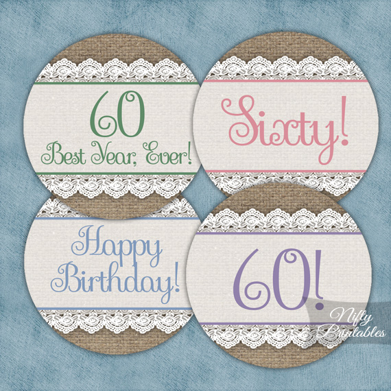 60th Birthday Cupcake Toppers - Burlap Lace