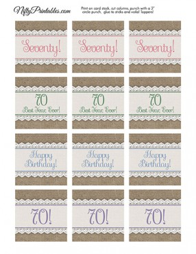 70th Birthday Cupcake Toppers - Burlap Lace