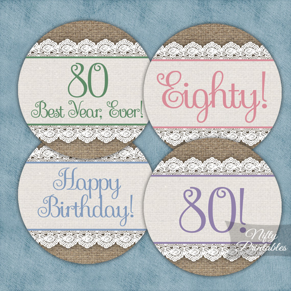 80th Birthday Cupcake Toppers - Burlap Lace