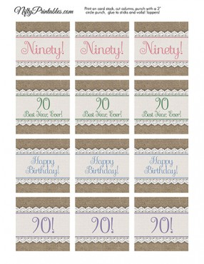 90th Birthday Cupcake Toppers - Burlap Lace