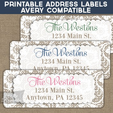 Printable Address Labels - White Lace - Avery Compatible
