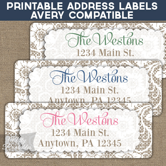 Printable Address Labels White Lace Avery Compatible