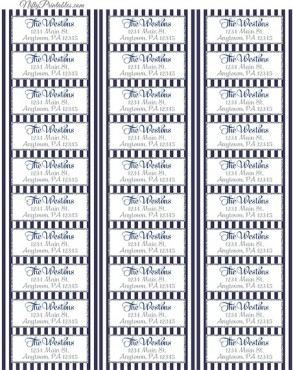 Printable Address Labels - Navy Blue Silver - Avery Compatible