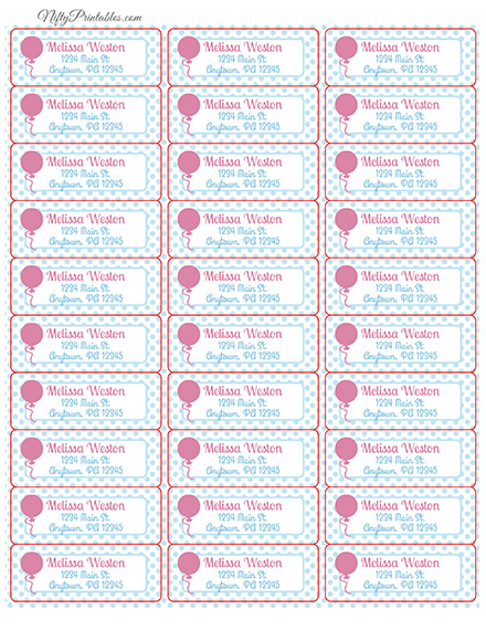 Printable Address Labels - Pink Balloon - Avery Compatible