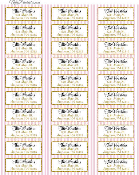 Printable Address Labels - Pink Gold - Avery Compatible