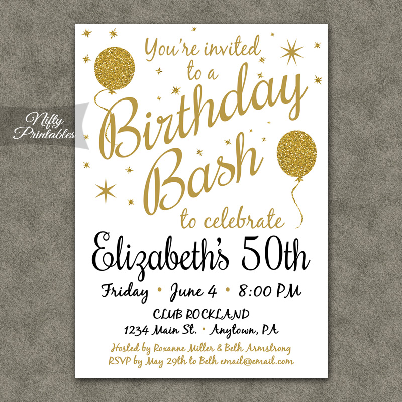 White Glitter Balloons Birthday Invitations