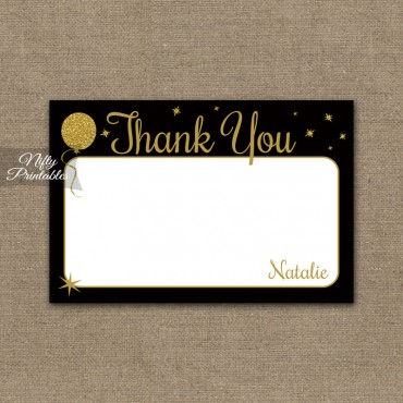 Glitter Balloons Personalized Flat Thank You Cards