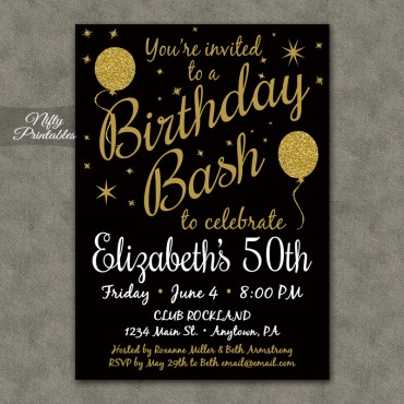 Black Glitter Balloons Birthday Invitations