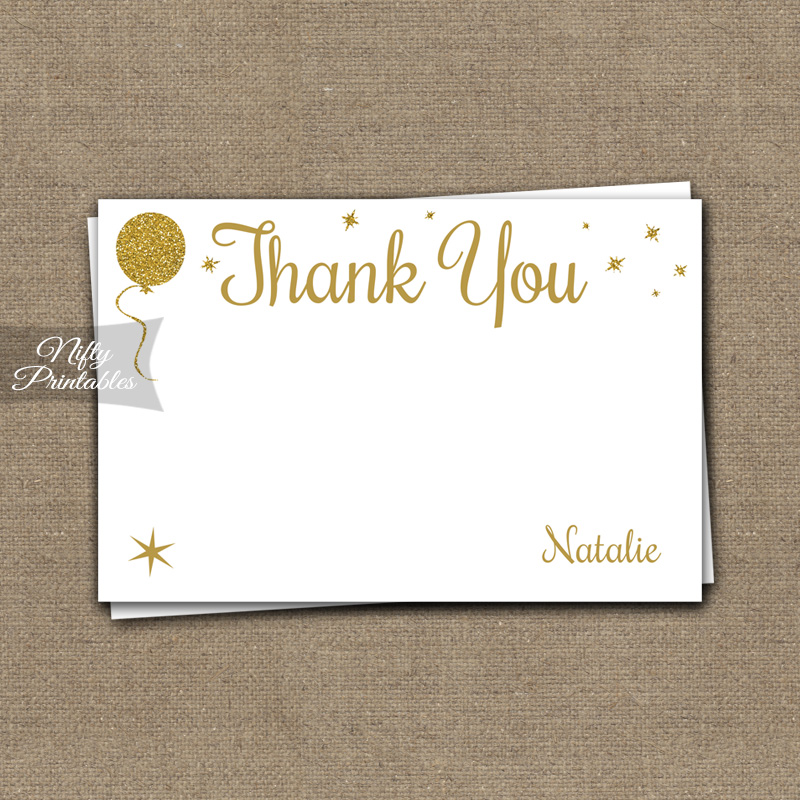 Glitter Balloons Personalized Thank You Cards - White
