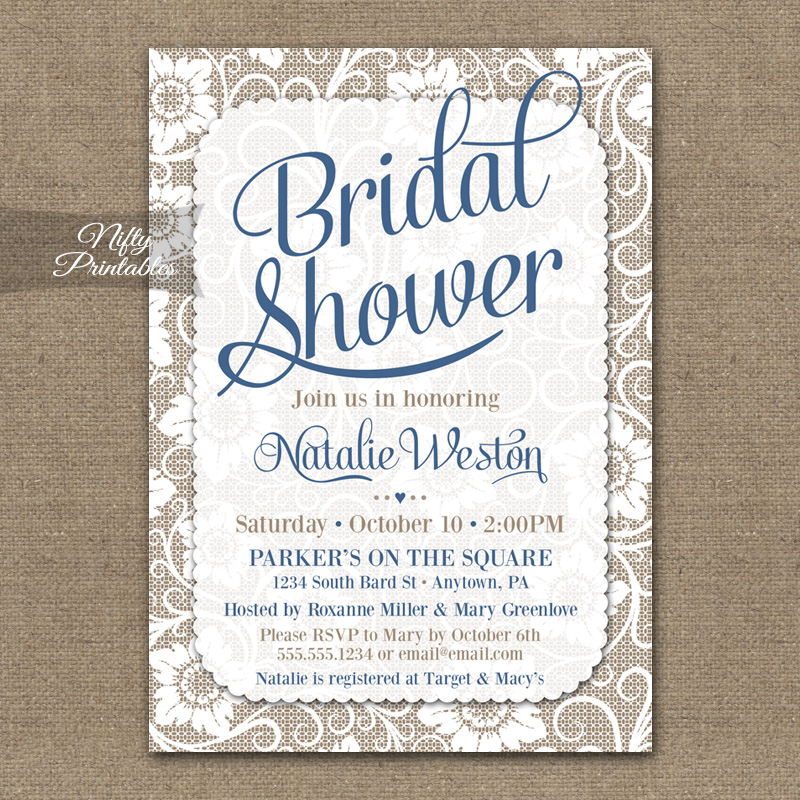 White Lace Bridal Shower Invitations - Blue