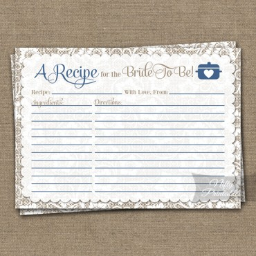 Bridal Shower Recipe Cards - White Lace Blue