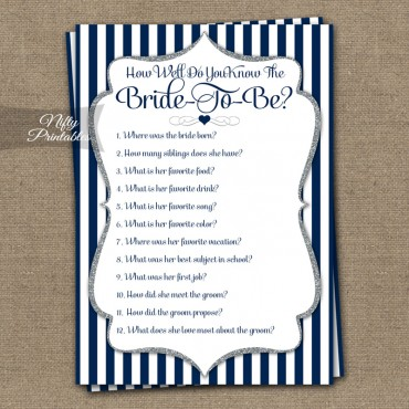 How Well Do You Know The Bride Shower Game - Navy Blue