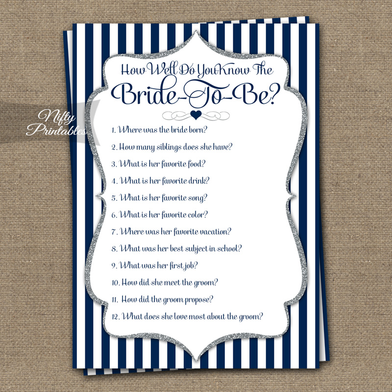 image relating to How Well Do You Know the Bride Printable called How Perfectly Do On your own Comprehend The Bride Shower Recreation - Armed forces Blue