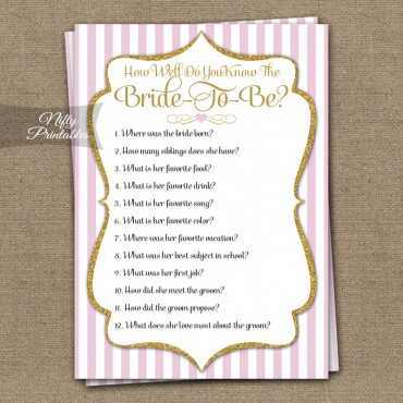 How Well Do You Know The Bride Shower Game - Pink Gold